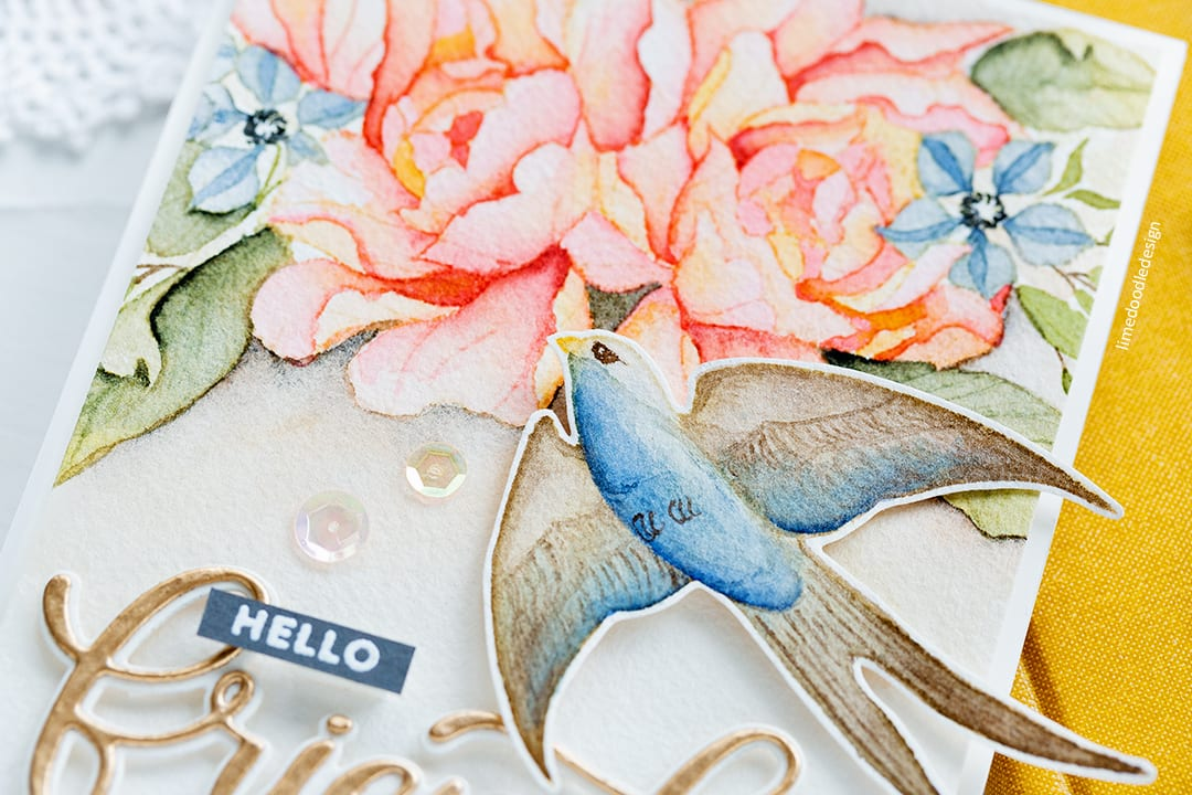 No line watercoloured handmade card by Debby Hughes using new Simon Says Stamp stamps and dies along with Daniel Smith watercolours. Find out more here: https://limedoodledesign.com/2018/06/no-line-watercolouring-blog-hop-giveaway/