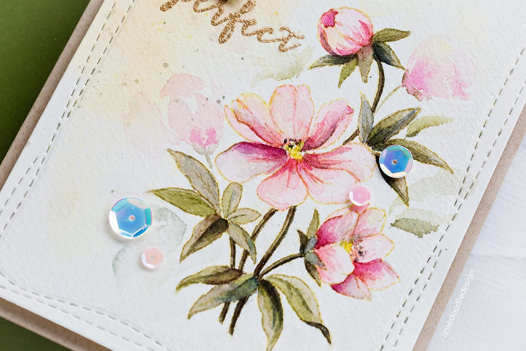 Tips to extending an image. Handmade card by Debby Hughes using the Perfect Peonies set by Clearly Besotted. Find out more here: https://limedoodledesign.com/2018/07/extending-an-image/