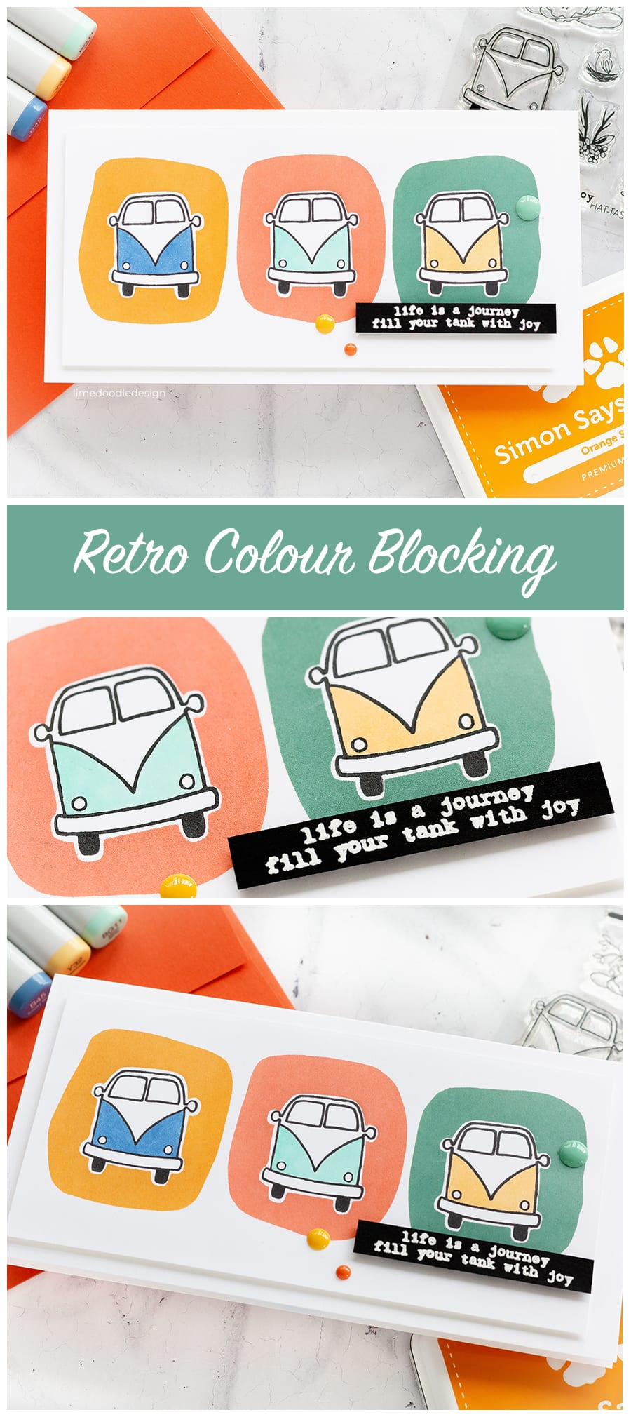 Retro colour blocking handmade cards by Debby Hughes. Find out more here: https://limedoodledesign.com/2018/07/retro-colour-blocking/