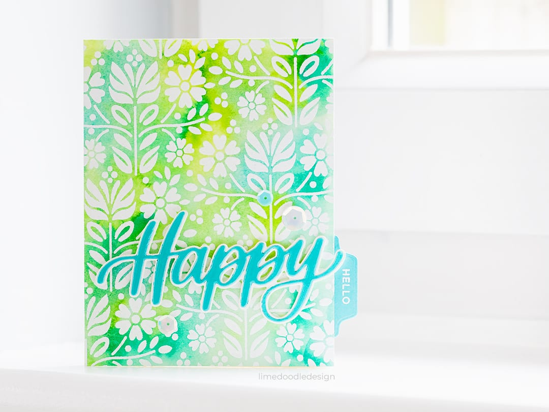 Watercoloured happy hello handmade cards by Debby Hughes using the new Big Hello, Tabbed Sentiments, Simple Tabs and Folk Dance Background from Simon Says Stamp along with liquid watercolours from PinkFresh Studio. Find out more here: https://limedoodledesign.com/2018/07/tabbed-cards/ #handmadecards #simonsaysstamp