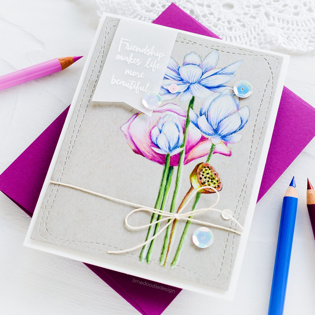 Faber Castell pencils on kraft using the lovely Sketch Lotus Flowers set from Simon Says Stamp. Handmade card by Debby Hughes. Find out more here: https://limedoodledesign.com/2018/07/clean-simple-pencils-on-kraft-blog-hop-giveaway/ #handmadecards #lotus