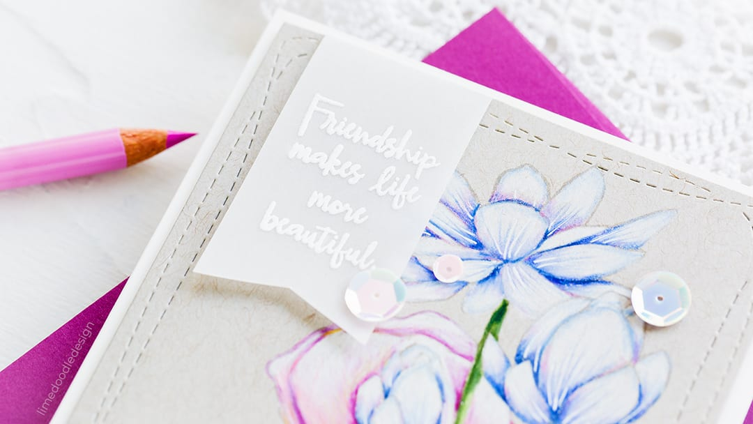Sneak peek of a handmade card by Debby Hughes coming soon using the Sketch Lotus Flowers set from Simon Says Stamp. Find out more here: https://limedoodledesign.com/2018/07/back-to-school-time/