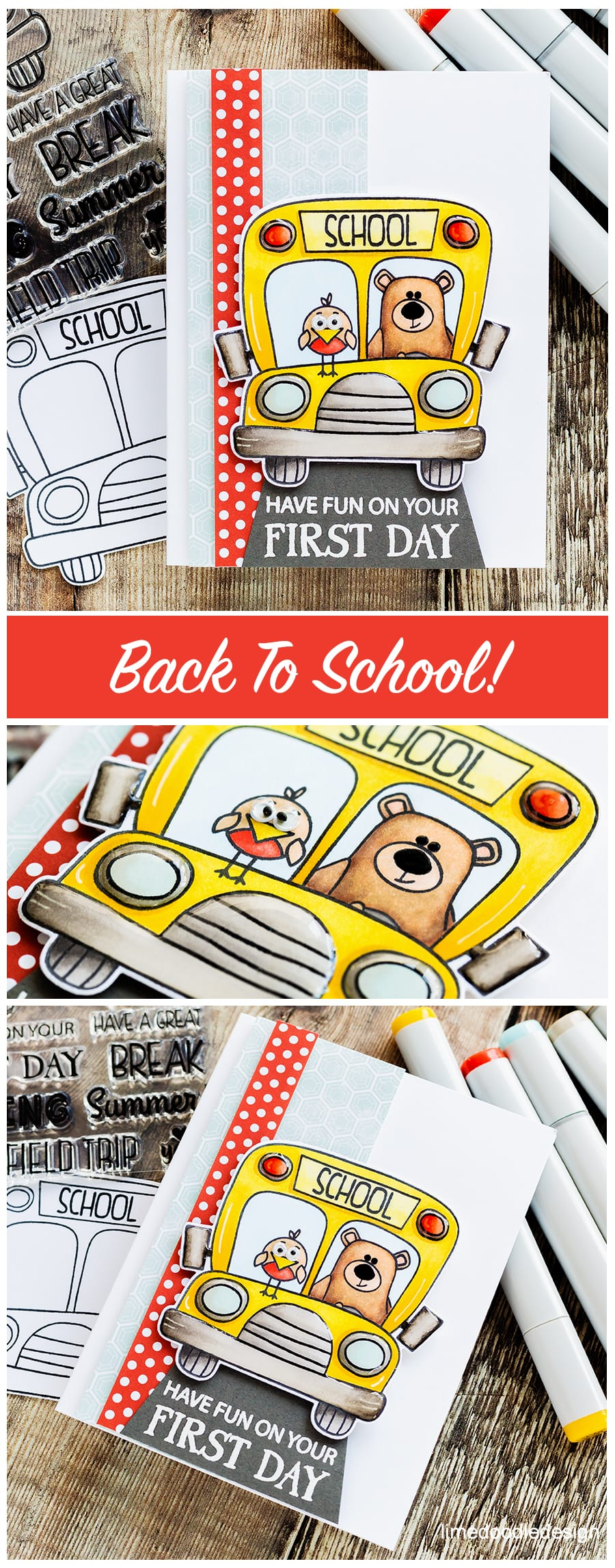It's back to school time! Handmade card by Debby Hughes using the new School Bus Messages set from Simon Says Stamp. Find out more here: https://limedoodledesign.com/2018/07/back-to-school-time/ #school #backtoschool #schoolbus