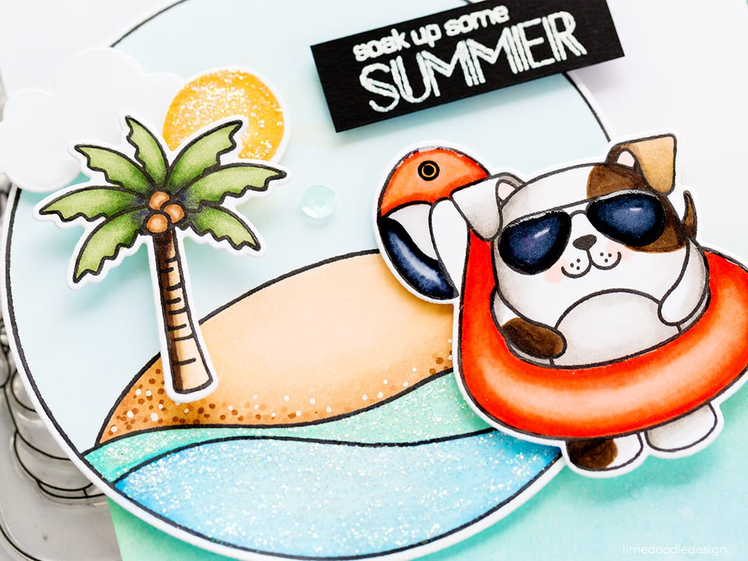 Cute Copic marker coloured summer cuddly critters handmade card by Debby Hughes. Find out more here: https://limedoodledesign.com/2018/07/soak-up-some-summer-giveaway/
