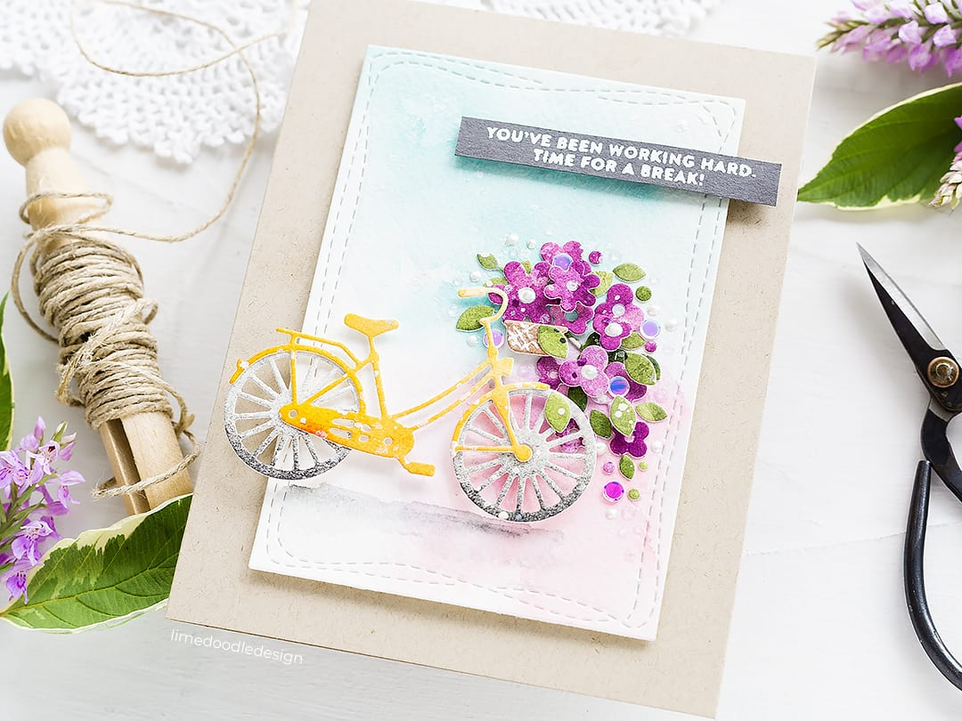 Watercoloured die cuts handmade bicycle card by Debby Hughes using supplies from Simon Says Stamp. Find out more here: https://limedoodledesign.com/2018/08/video-watercoloured-die-cuts-giveaway/
