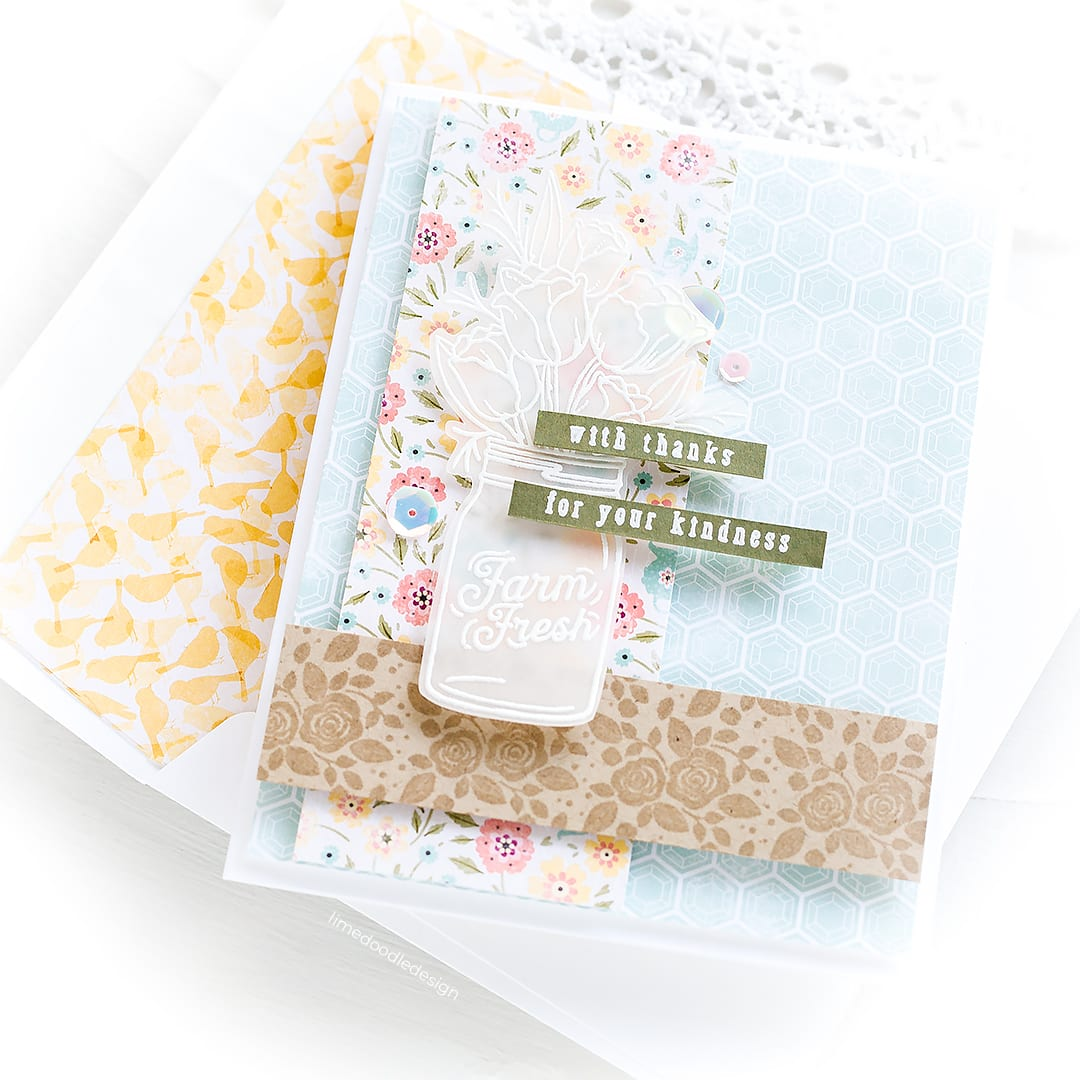White heat embossed on vellum accents are the perfect addition to a soft elegant handmade card. Find out more here: https://limedoodledesign.com/2018/07/elegant-white-heat-embossing-sales/