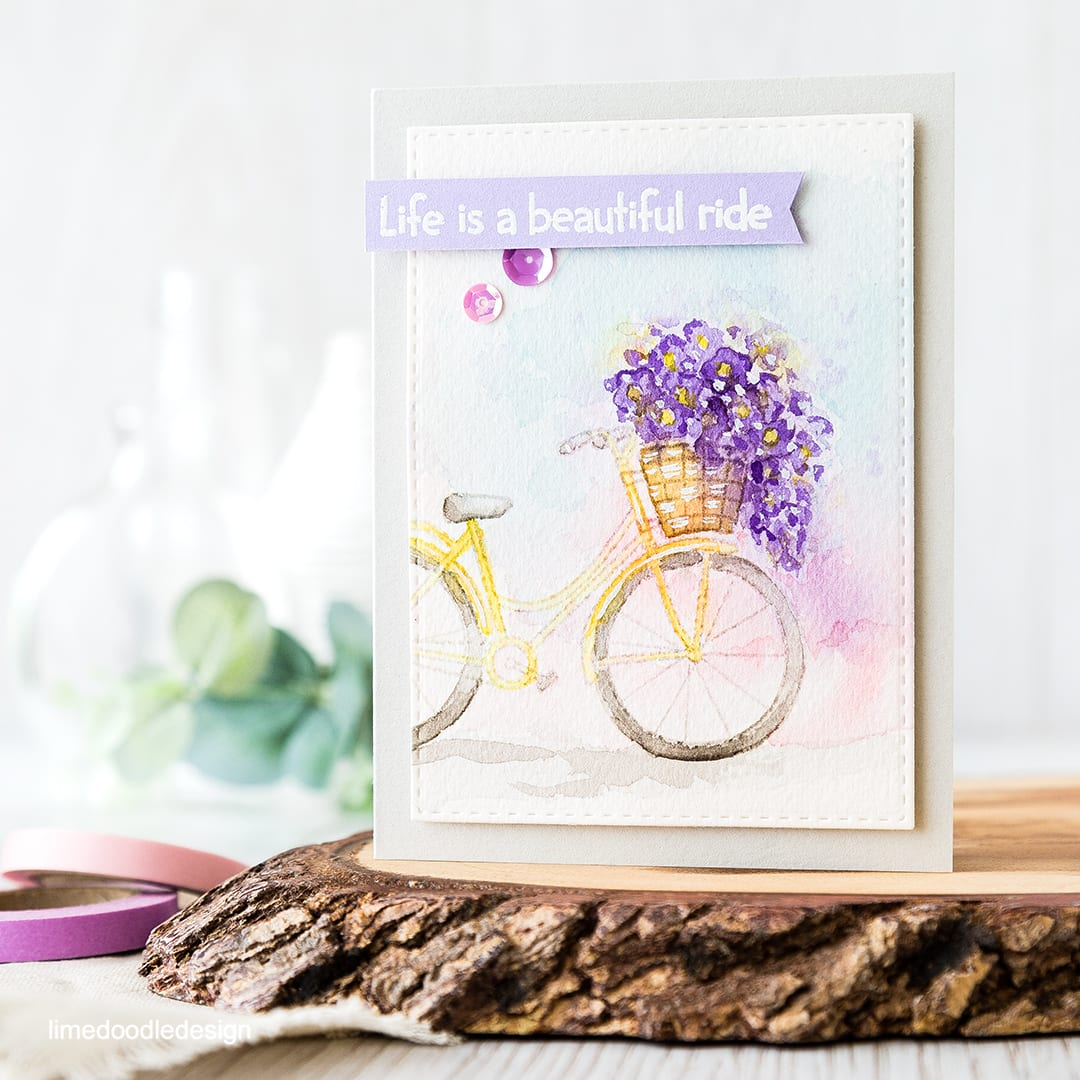 No line watercoloured bicycle scene handmade card by Debby Hughes using supplies from Simon Says Stamp. Find out more here: https://limedoodledesign.com/2016/05/off-the-page/