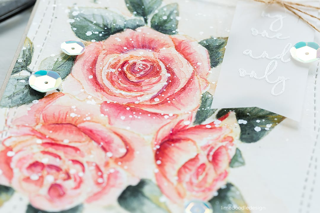 Vintage style watercoloured roses handmade card by Debby Hughes using supplies from Picket Fence Studios. Find out more here: https://limedoodledesign.com/2018/08/vintage-style-watercoloured-flowers/