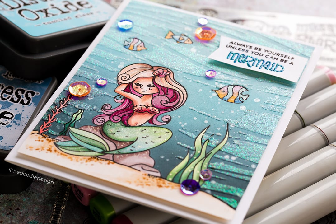 Always be yourself unless you can be a mermaid. Copic coloured handmade card by Debby Hughes. Find out more here: https://limedoodledesign.com/2018/08/always-be-yourself-unless-you-can-be-a-mermaid-giveaway/ #mermaid
