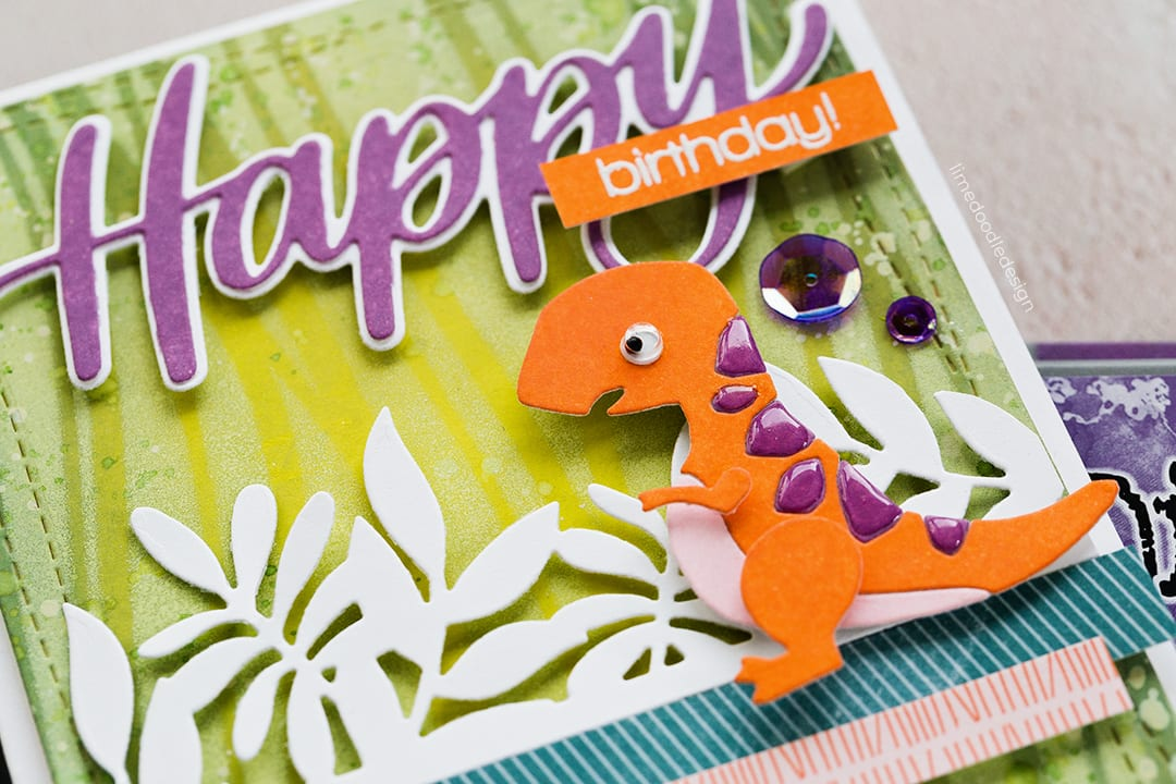 Cute dinosaur happy birthday handmade card by Debby Hughes using new Distress Oxides and supplies from Simon Says Stamp. Find out more here: https://limedoodledesign.com/2018/08/new-distress-oxides-colour-challenge-winner/