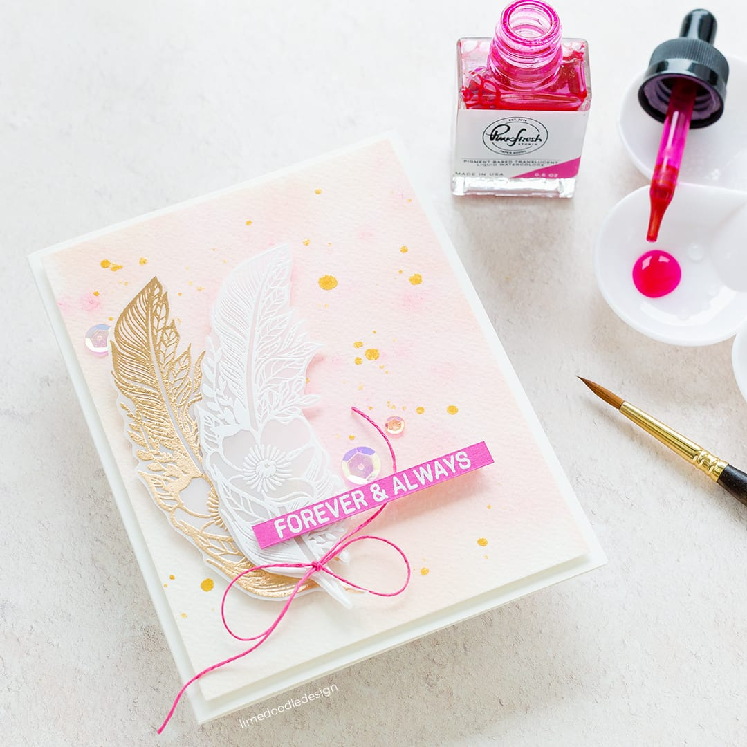 Simple watercoloured handmade wedding card by Debby Hughes using supplies from Simon Says Stamp and PinkFresh. Find out more here: https://limedoodledesign.com/2018/08/simple-wedding-card/