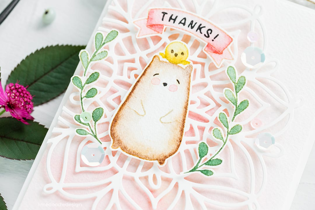 The sweetest watercoloured Big Bear And Bird thanks card by Debby Hughes. Find out more here: https://limedoodledesign.com/2018/08/watercolour-swatching-colour-exploration/
