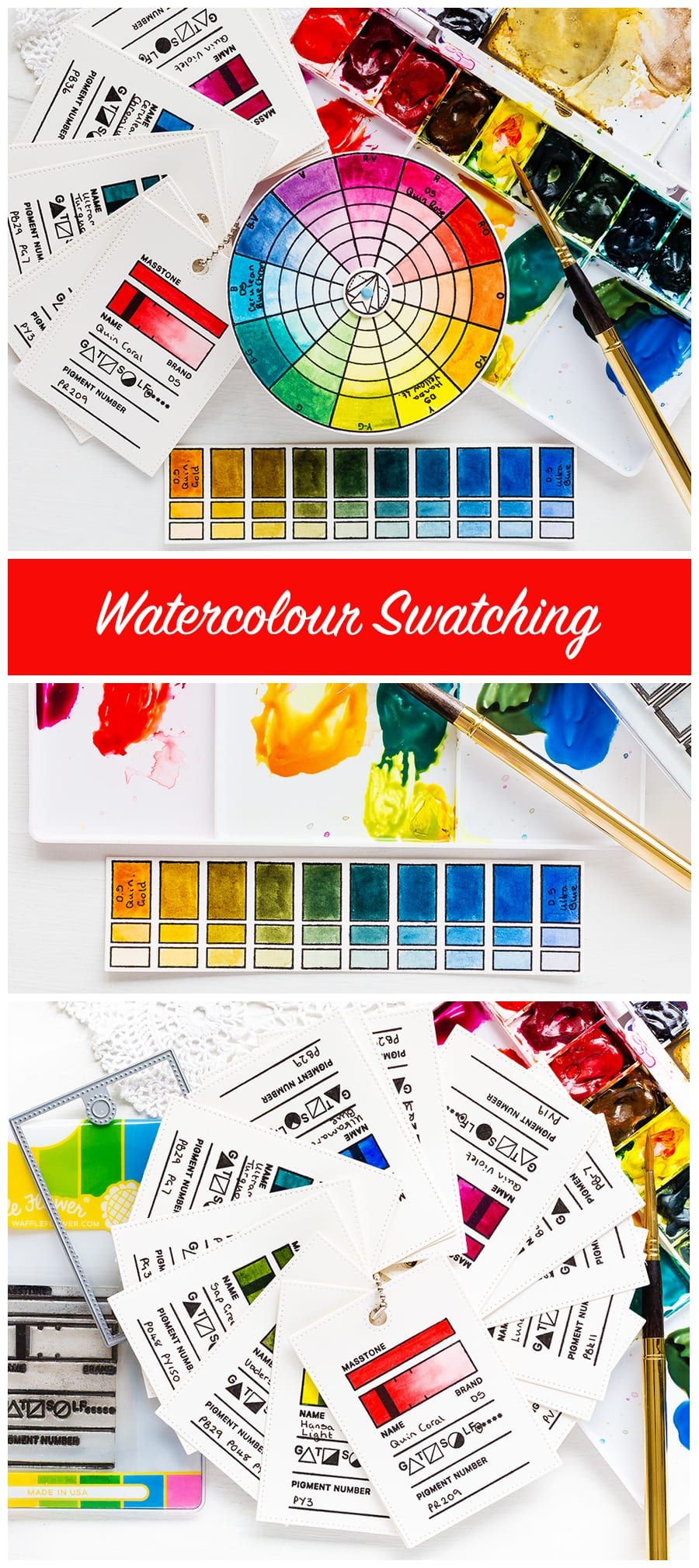 Colour swatching watercolours, colour wheels, colour mixing, watercolour swatches by Debby Hughes. Find out more here: https://limedoodledesign.com/2018/08/watercolour-swatching-colour-exploration/