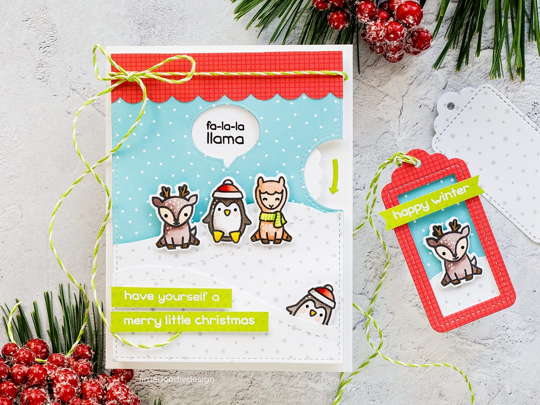 Christmas handmade cute critter cards by Debby Hughes using Lawn Fawn fall/winter release and reveal wheel. Find out more here: https://limedoodledesign.com/2018/09/lawn-fawn-stamptember-reveal-wheel/