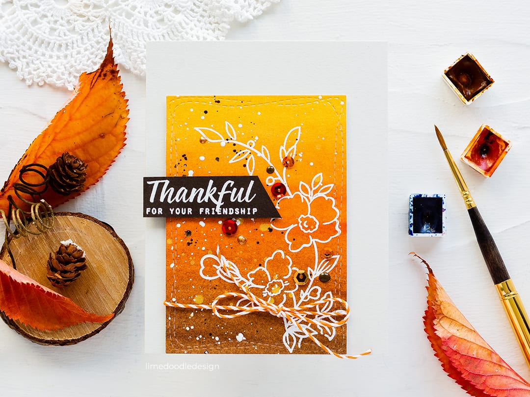 Fall flowers, thankful handmade card by Debby Hughes using the Altenew STAMPtember Dainty Sprig stamp set and Daniel Smith watercolours. Find out more here: https://limedoodledesign.com/2018/09/altenew-stamptember-2/