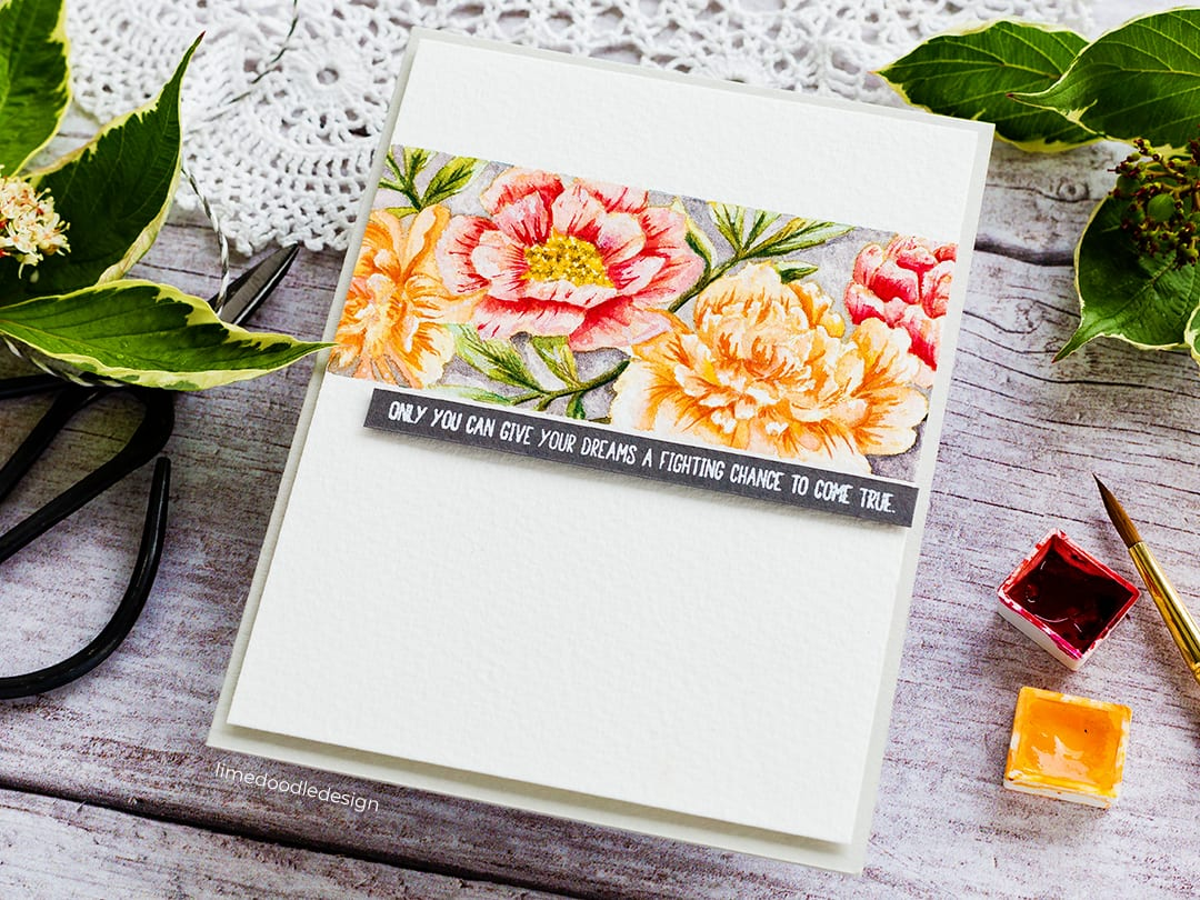 Beautiful flowers, no line watercoloured, clean and simple handmade card by Debby Hughes using products from Simon Says Stamp. Find out more here: https://limedoodledesign.com/2018/09/stamptember-2018-party/