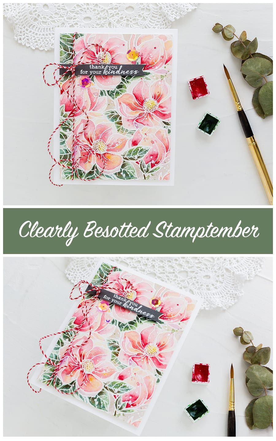 Softly watercoloured magnolia handmade kindness card by Debby Hughes using the Clearly Besotted STAMPtember set. Find out more here: https://limedoodledesign.com/2018/09/clearly-besotted-stamptember-2/