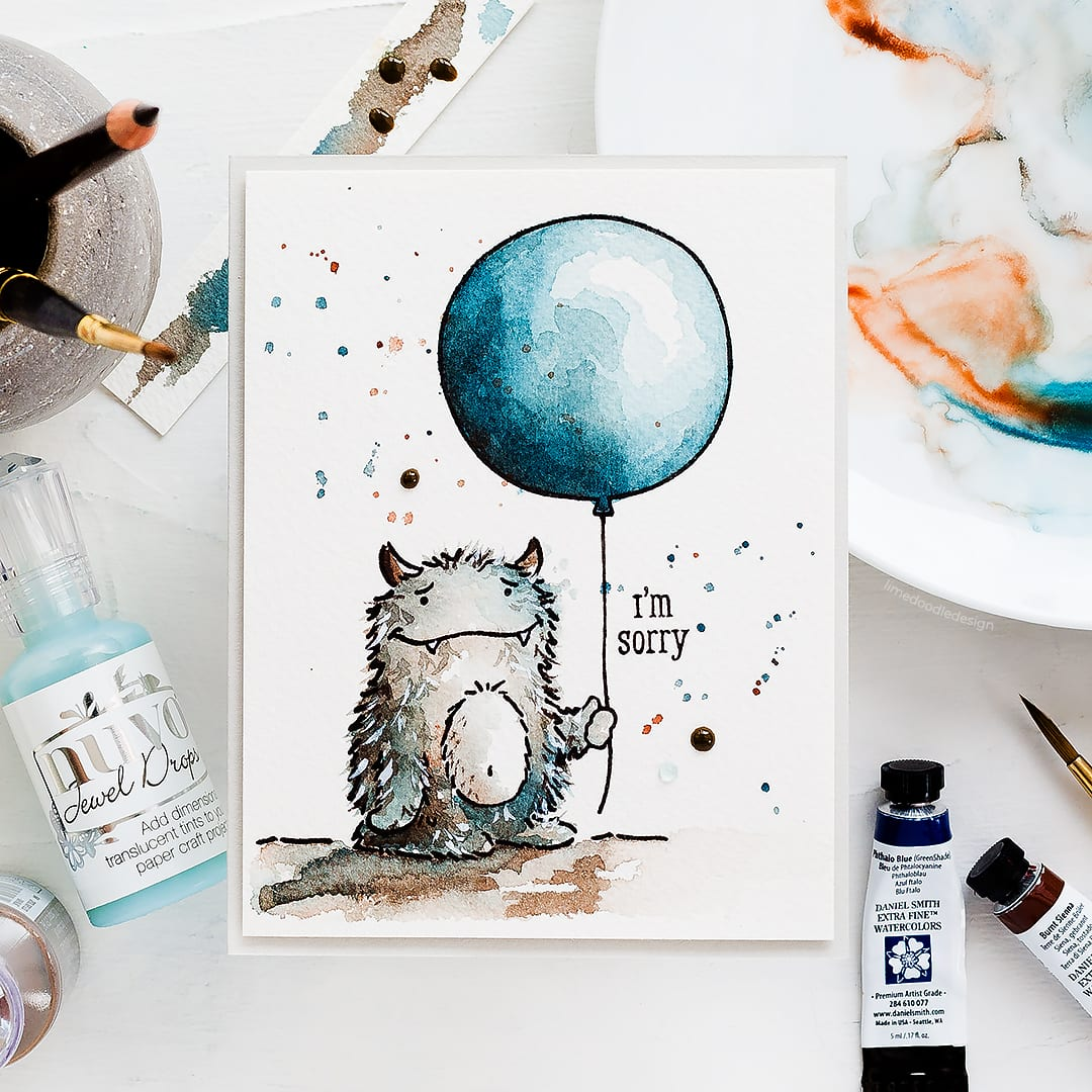 Video tutorial watercolouring a cute monster holding a balloon handmade card by Debby Hughes using the new Concord & 9th STAMPtember set. Find out more here: https://limedoodledesign.com/2018/09/video-concord-9th-stamptember/