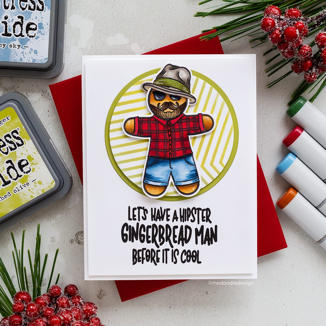 Fun hipster gingerbread man handmade Christmas card by Debby Hughes using new STAMPtember products from Simon Says Stamp. Find out more here: https://limedoodledesign.com/2018/09/stamptember-and-so-the-fun-begins/