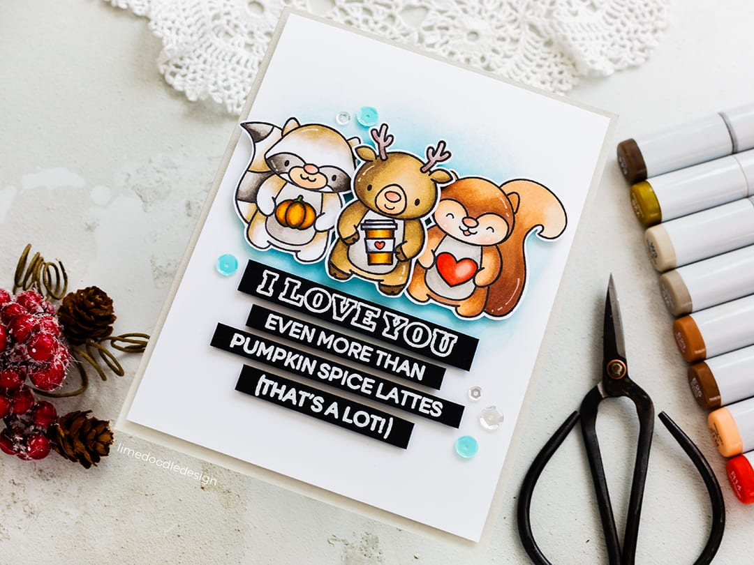 Oh so cute autumn, pumpkin spice latte loving critters handmade card by Debby Hughes using Heffy Doodle's exclusive STAMPtember set. Find out more here: https://limedoodledesign.com/2018/09/heffy-doodle-stamptember/