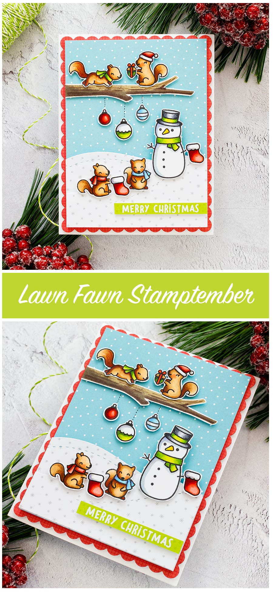Christmas handmade cute critter cards by Debby Hughes using Lawn Fawn STAMPtember set. Find out more here: https://limedoodledesign.com/2018/09/lawn-fawn-stamptember-reveal-wheel/