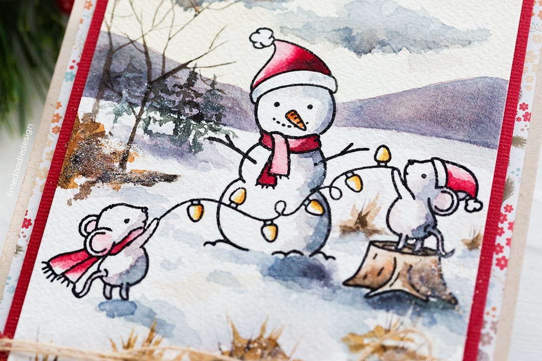 Rustic Holiday, cute mice and snowman scene handmade card by Debby Hughes using the STAMPtember set from Neat & Tangled. Find out more here: https://limedoodledesign.com/2018/09/neat-tangled-stamptember-2/