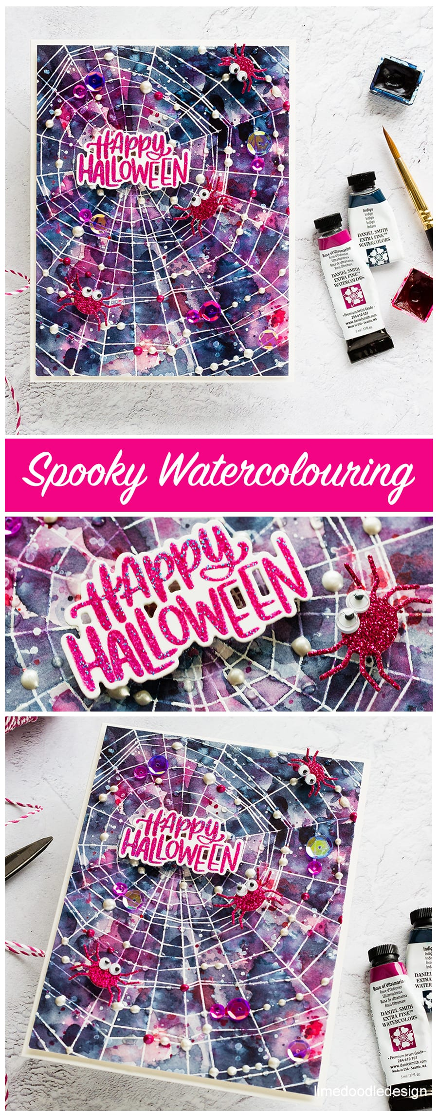 Spooky halloween watercoloured handmade card by Debby Hughes using products from Simon Says Stamp. Find out more here: https://limedoodledesign.com/2018/09/spooky-watercolouring/