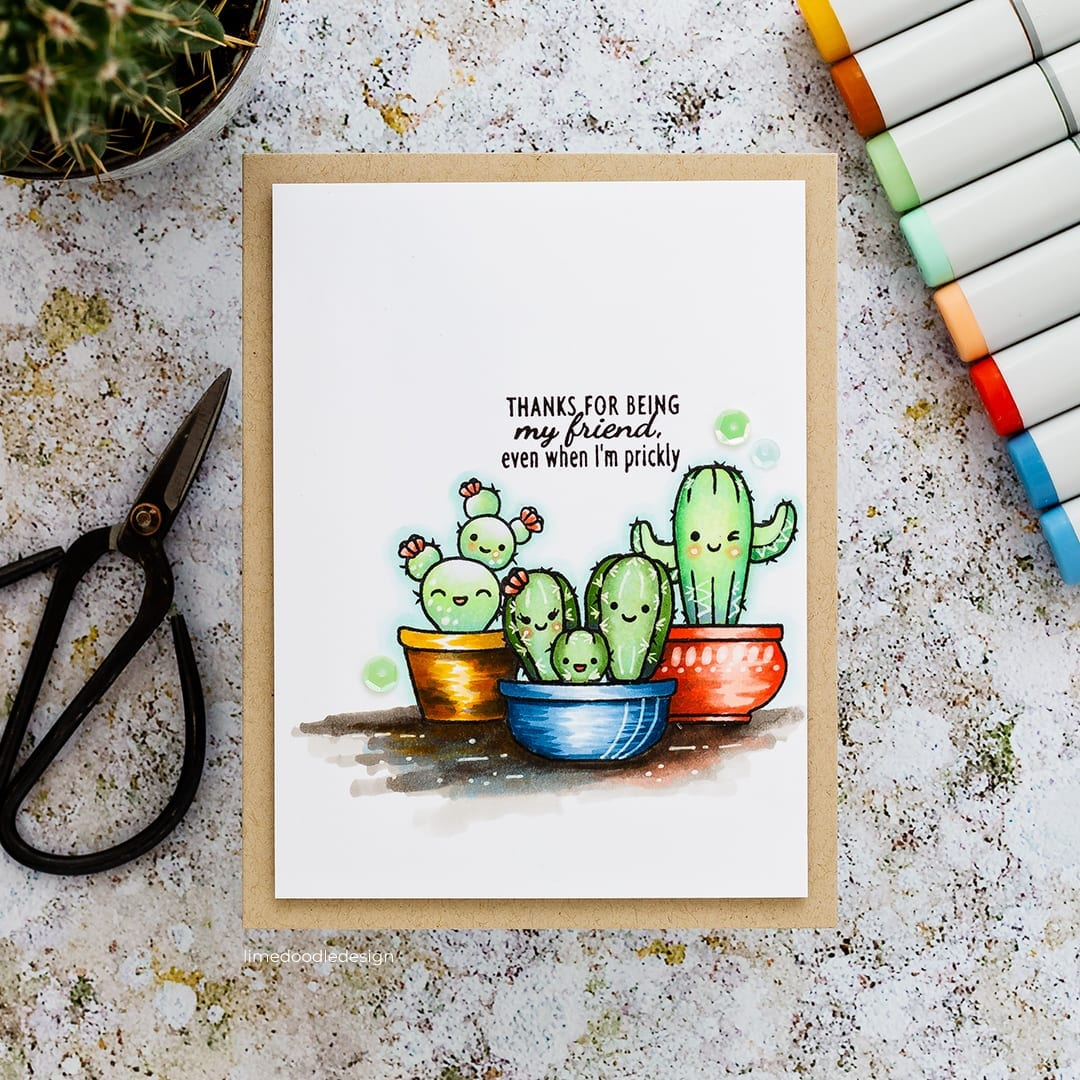Cute, cuddly cacti handmade Copic coloured card by Debby Hughes using the STAMPtember SugarPea Designs set. Find out more here: https://limedoodledesign.com/2018/09/sugarpea-stamptember/