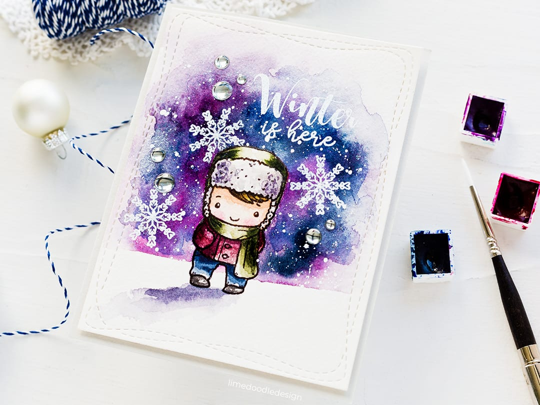 Watercoloured winter wonderland handmade card by Debby Hughes using The Greeting Farm STAMPtember set. Find out more here: https://limedoodledesign.com/2018/09/the-greeting-farm-stamptember/