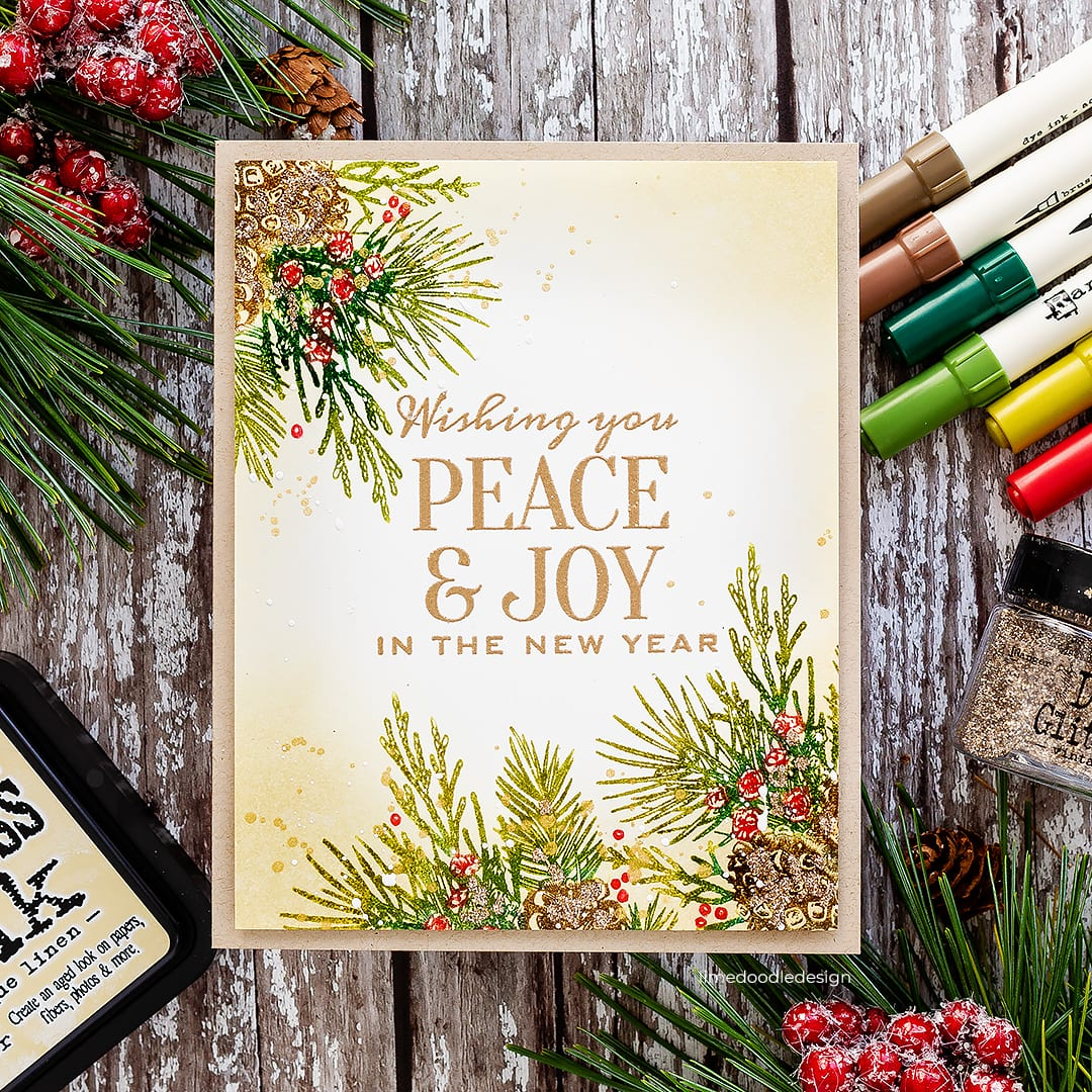 Vintage handmade Holiday Christmas card by Debby Hughes using the STAMPtember set from Tim Holtz. Find out more here: https://limedoodledesign.com/2018/09/tim-holtz-stamptember/ #STAMPtember