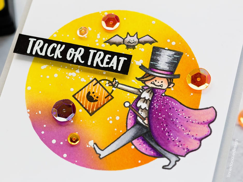 Trick or treat! Fun Halloween handmade card by Debby Hughes using the Waffle Flower STAMPtember set. Find out more here: https://limedoodledesign.com/2018/09/waffle-flower-stamptember/