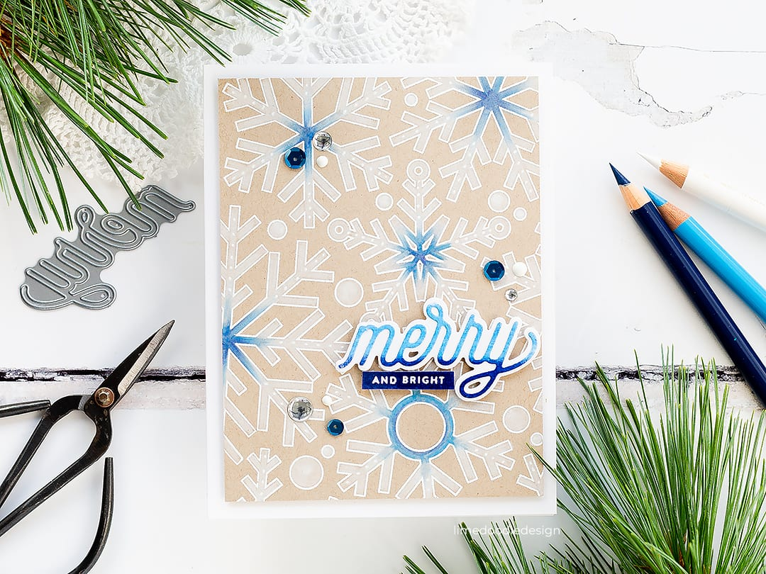 Subtle snowflakes, pencils on kraft handmade Christmas card by Debby Hughes using products from Simon Says Stamp. Find out more here: https://limedoodledesign.com/2018/10/video-pencils-on-kraft/