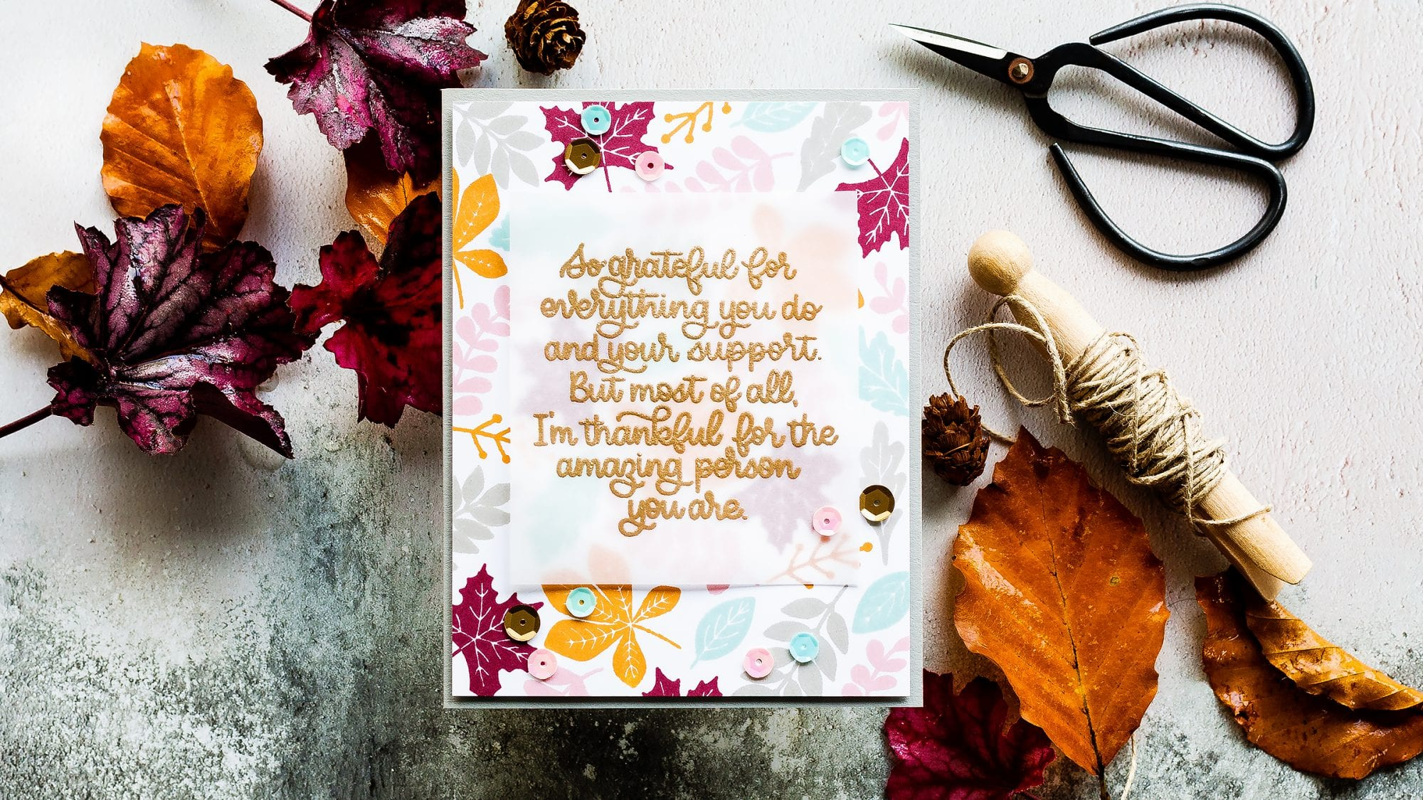 Autumn leaves handmade card by Debby Hughes using products from Simon Says Stamp. Find out more here: https://limedoodledesign.com/2018/10/video-autumn-leaves-background/