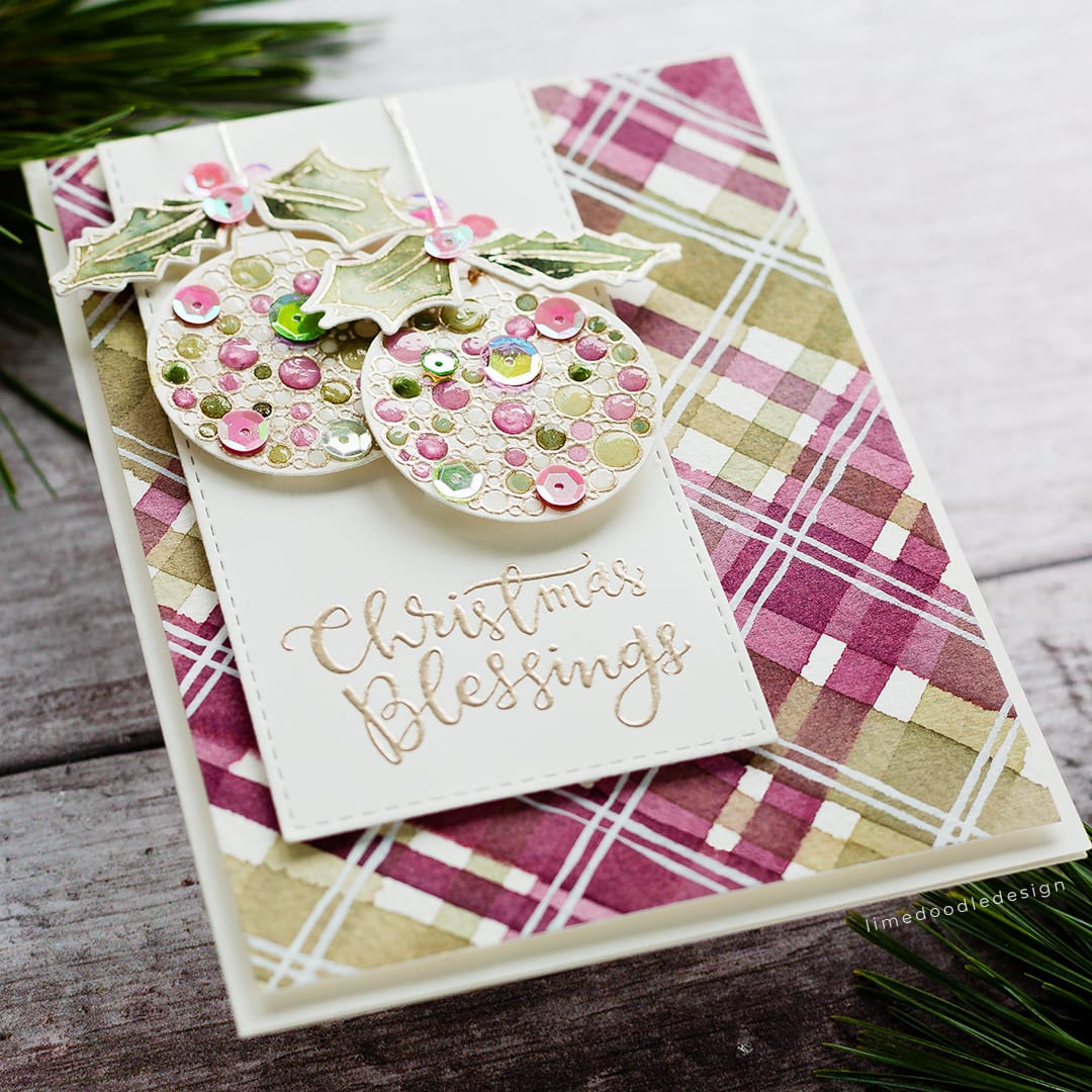 Today I'm representing Scotland for World Cardmaking Day with this watercoloured tartan handmade Christmas card. Find out more here: https://limedoodledesign.com/2018/10/world-card-making-day-scotland/ Debby Hughes #christmas #card #tartan