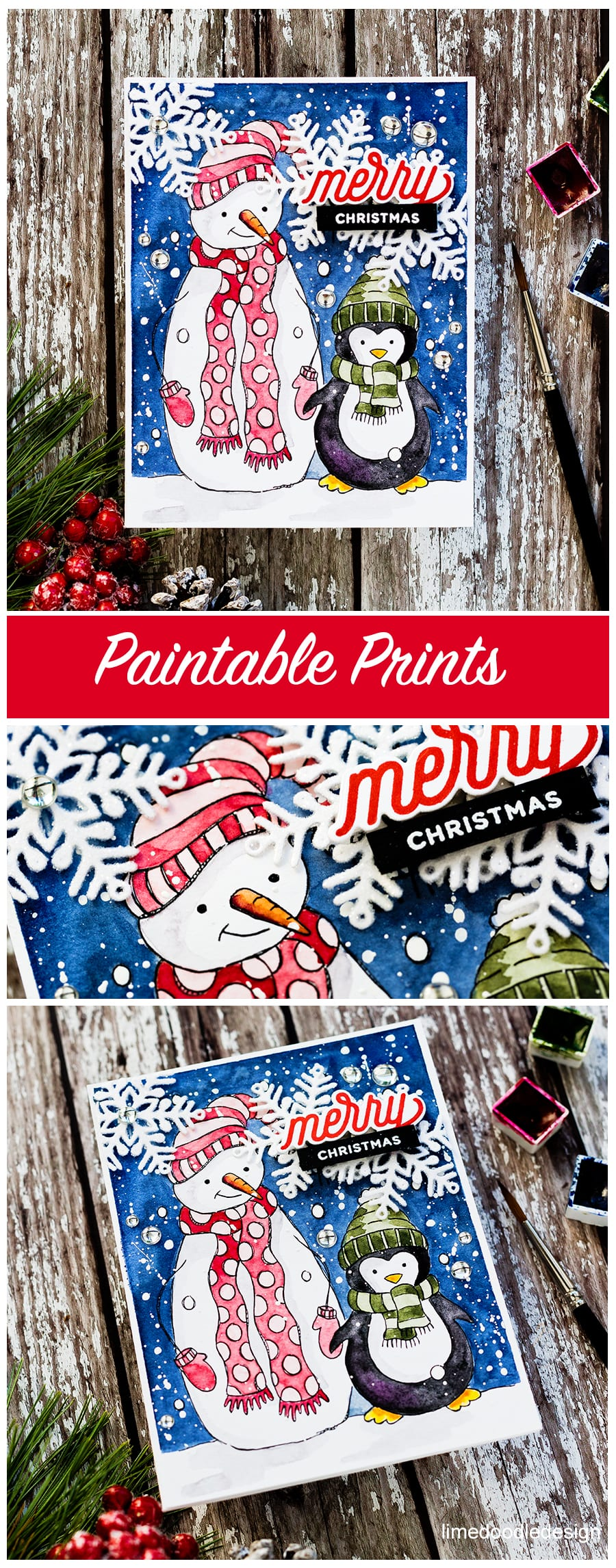 Paintable prints handmade Christmas card by Debby Hughes. Find out more here: https://limedoodledesign.com/2018/10/paintable-prints-perfect-for-quick-holiday-cards/
