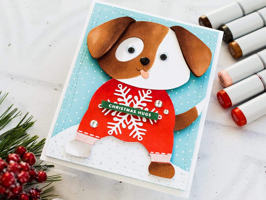 Cutest Christmas sweater wearing puppy handmade card by Debby Hughes using supplies from Simon Says Stamp Fun & Festive release. Find out more here: https://limedoodledesign.com/2018/10/christmas-sweater-weather-sss-new-release/