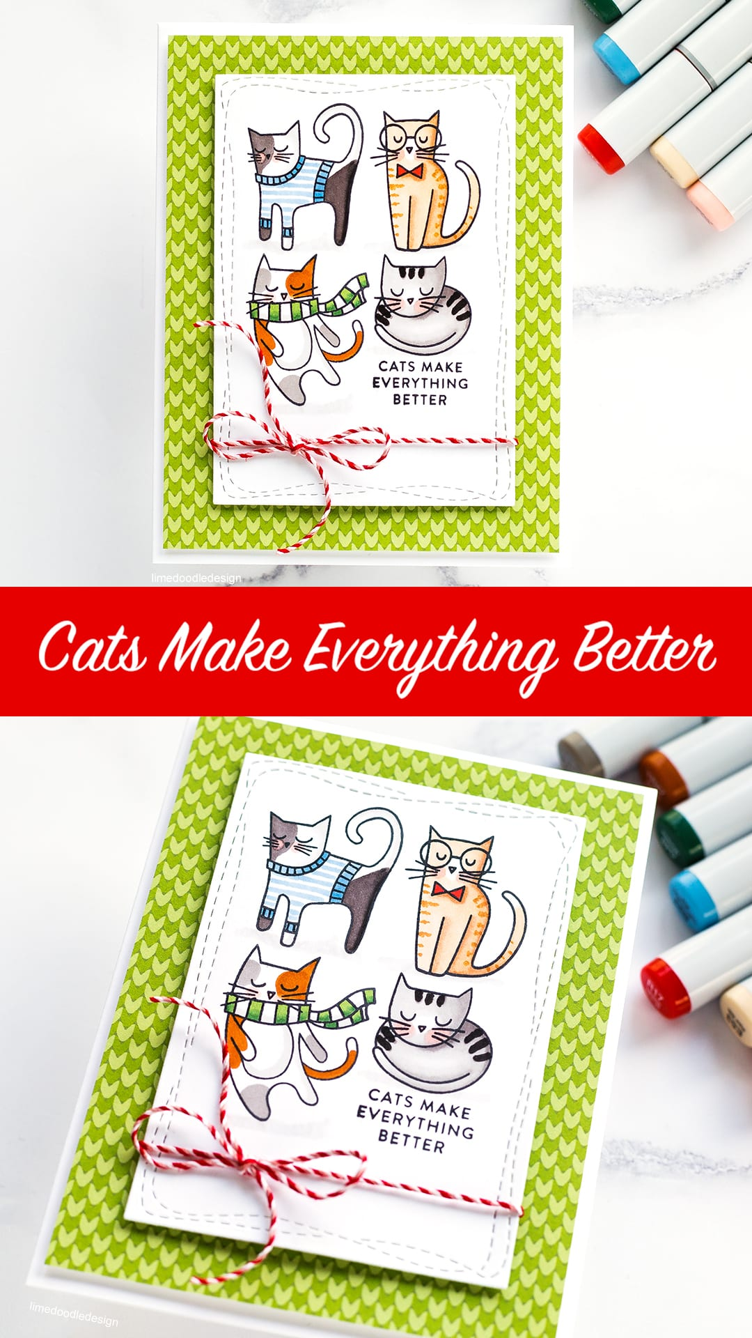 Cats make everything better! Handmade card by Debby Hughes. Find out more here: https://limedoodledesign.com/2018/10/cats-make-everything-better/