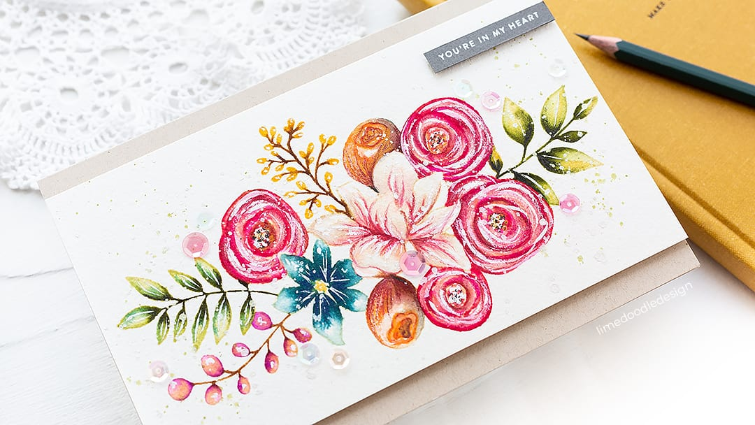 Altenew watercolor brush markers + Simon Says Stamp Sketched Flowers. Handmade card by Debby Hughes. Find out more here: https://limedoodledesign.com/2018/10/video-altenew-watercolor-brush-markers/