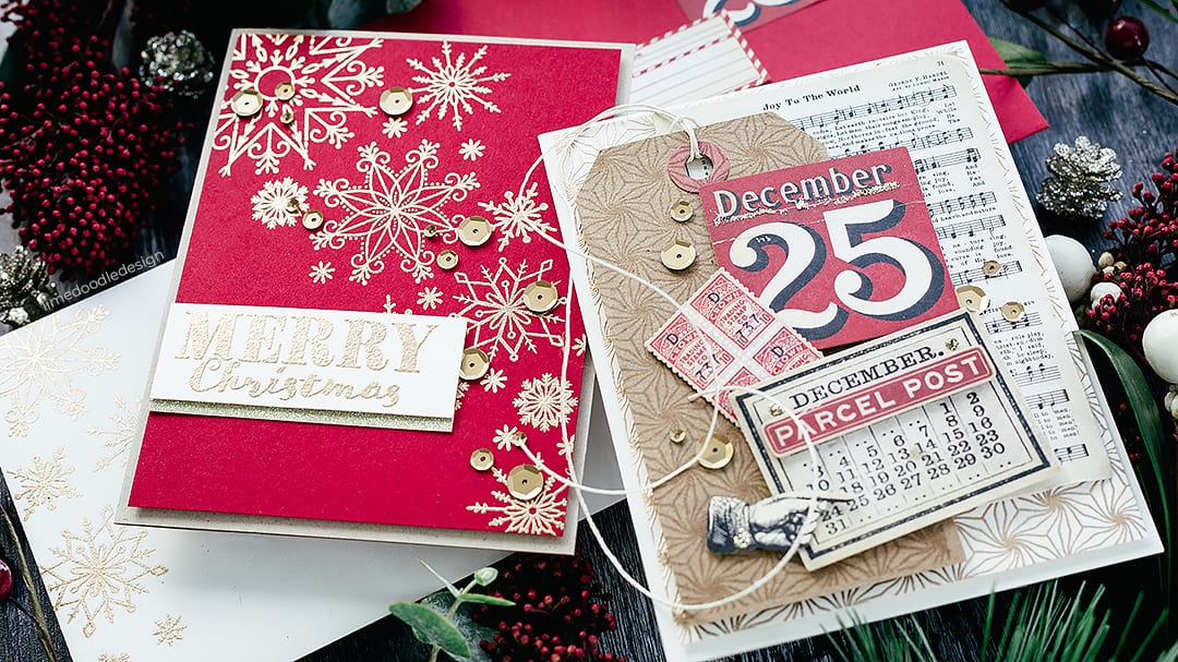 Vintage inspired Christmas handmade cards and matching envelopes by Debby Hughes using the Simon Says Stamp Limited Edition Holiday Card Kit. Find out more here: https://limedoodledesign.com/2018/11/simon-says-stamp-limited-edition-holiday-card-kit/
