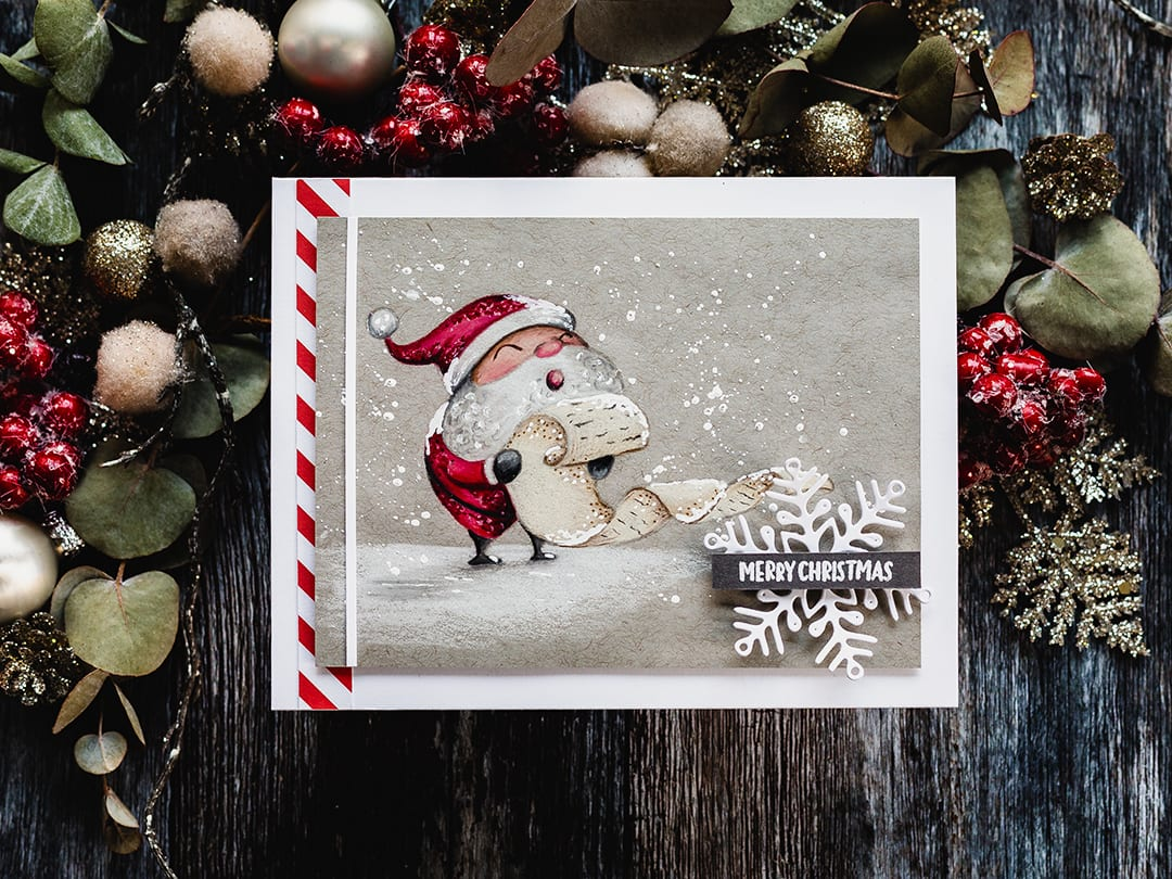 Cute Santa handmade Christmas card by Debby Hughes colouring Simon Says Stamp set with Faber Castell polychromos. Find out more here: https://limedoodledesign.com/2018/11/snowy-santa-pencils-on-kraft/
