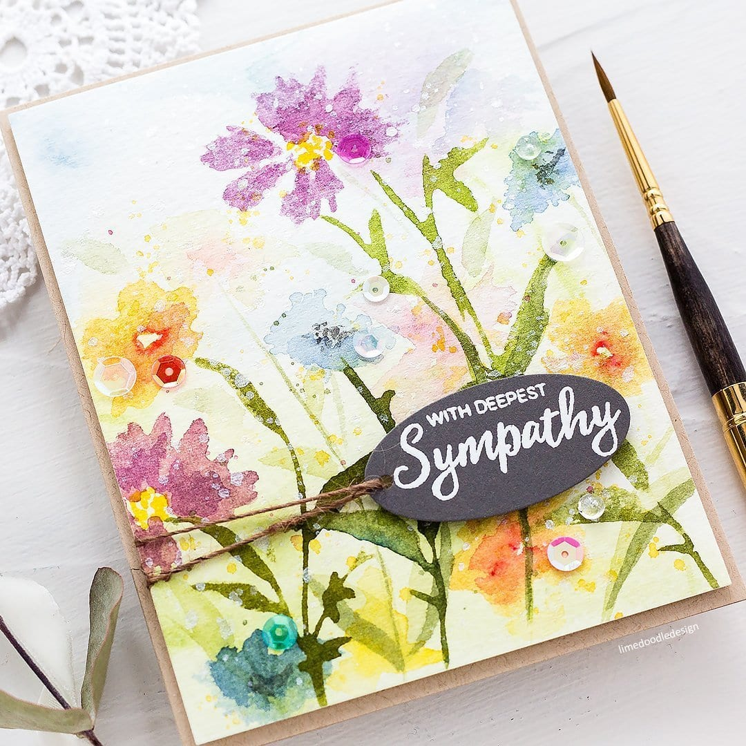 Video - stamping with watercolour tutorial. Handmade floral sympathy card by Debby Hughes #watercolor #homemade