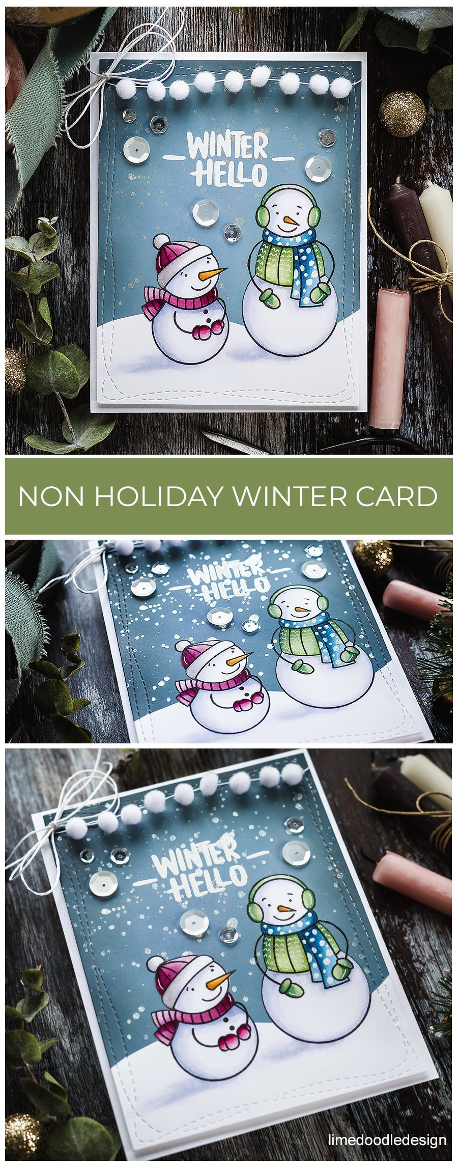 Video - taking a look inside a Simon Says Stamp card kit and creating a non-holiday winter card while also taking a first look at the Picket Fence Blender Brush set. Handmade card by Debby Hughes. Find out more here: https://limedoodledesign.com/2018/12/video-non-holiday-winter-card-SSS-card-kit-blender-brush-set/