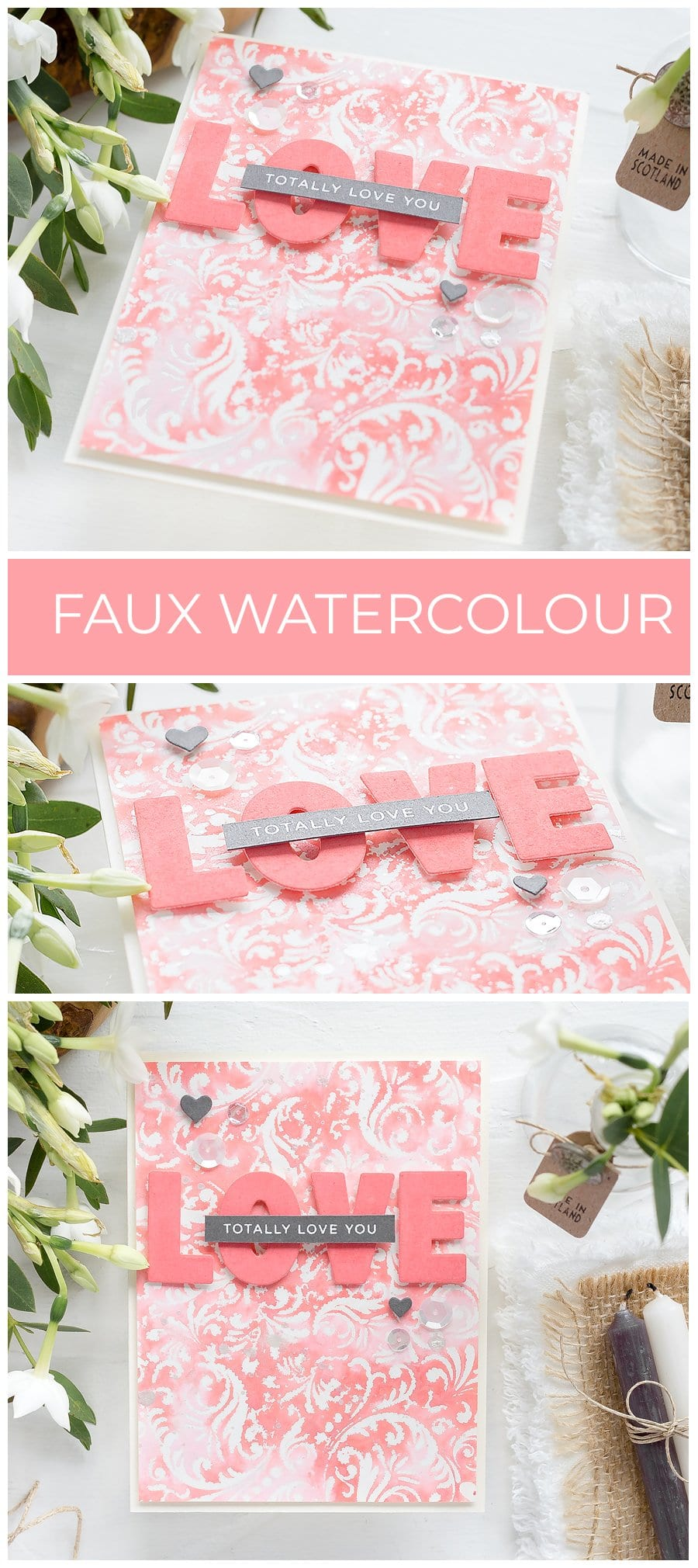 Video tutorial - faux watercolour background Valentine's handmade card by Debby Hughes. Find out more here: https://limedoodledesign.com/2018/12/video-faux-watercolour-background-sss-new-release/