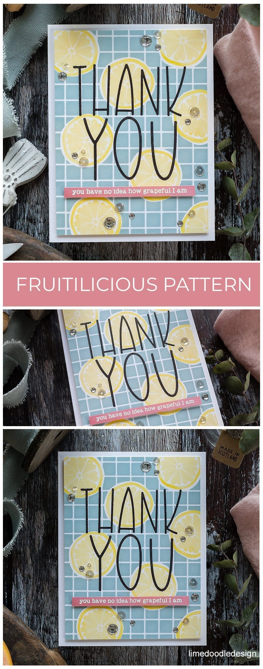 Video - fruitilicious background pattern thank you handmade card by Debby Hughes using supplies from Simon Says Stamp. Find out more here: https://limedoodledesign.com/2019/01/video-fruitilicious-background-pattern/