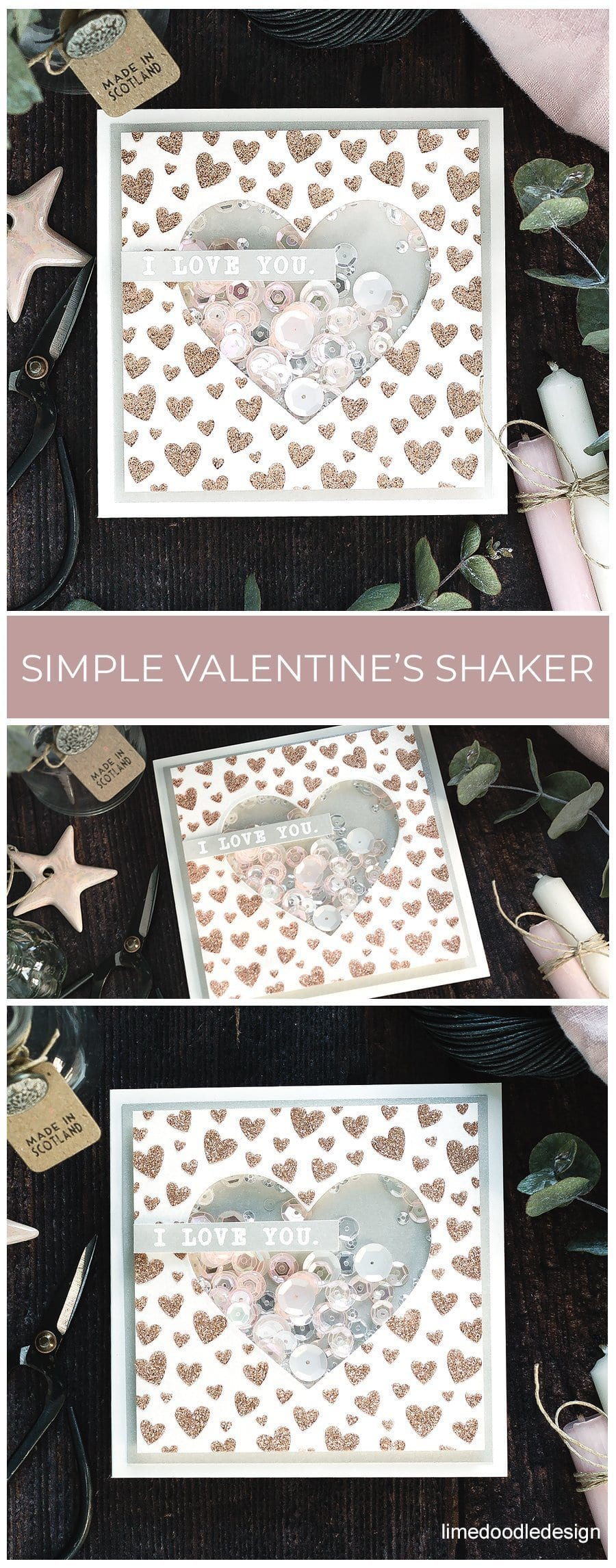 Simple Valentine's shaker card. Handmade card by Debby Hughes using supplies from Simon Says Stamp. Find out more here: https://limedoodledesign.com/2019/01/video-simple-valentines-shaker-card-blog-hop-giveaway/