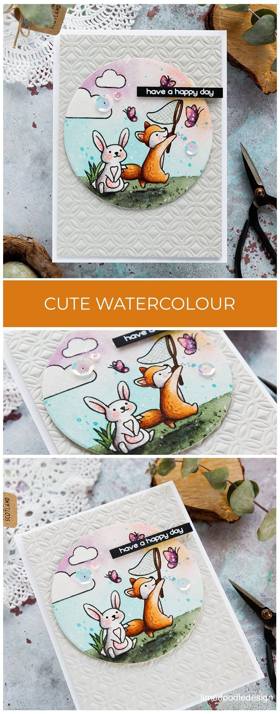 Cute watercoloured scene using new stamps and dies from the Spring 2019 Lawn Fawn release. Handmade birthday card by Debby Hughes. Find out more here: https://limedoodledesign.com/2019/02/cute-watercoloured-scene/