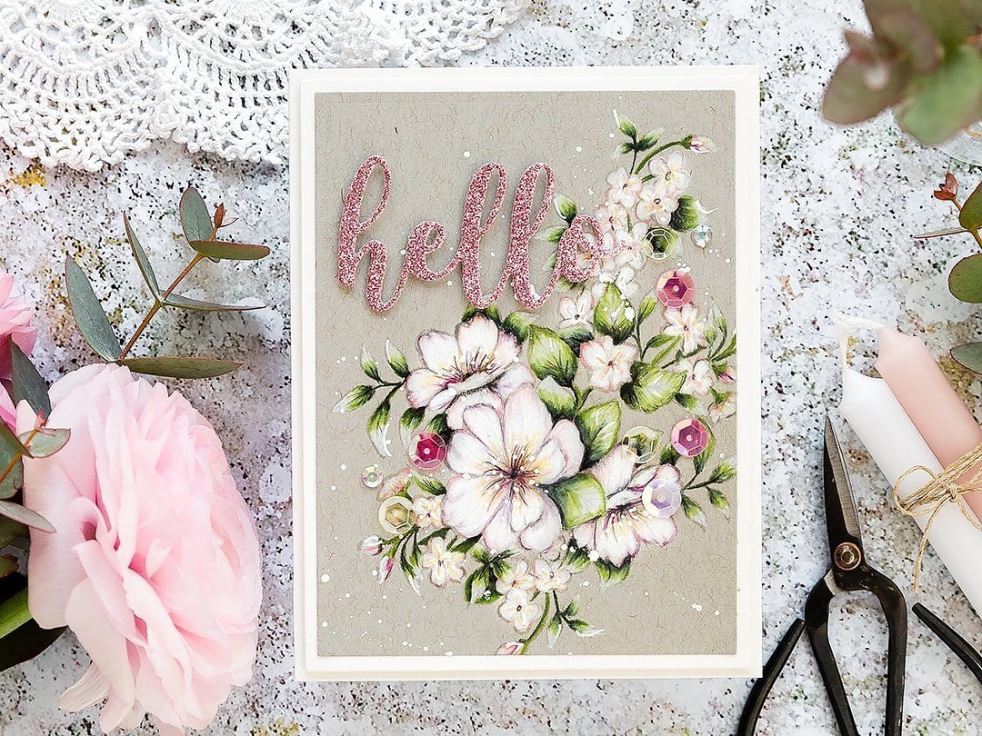 Video tutorial - Faber Castell coloured pencils on kraft handmade hello card using supplies from Stephanie Low at Spellbinders. Find out more here: https://limedoodledesign.com/2019/02/video-pencils-on-kraft-2/