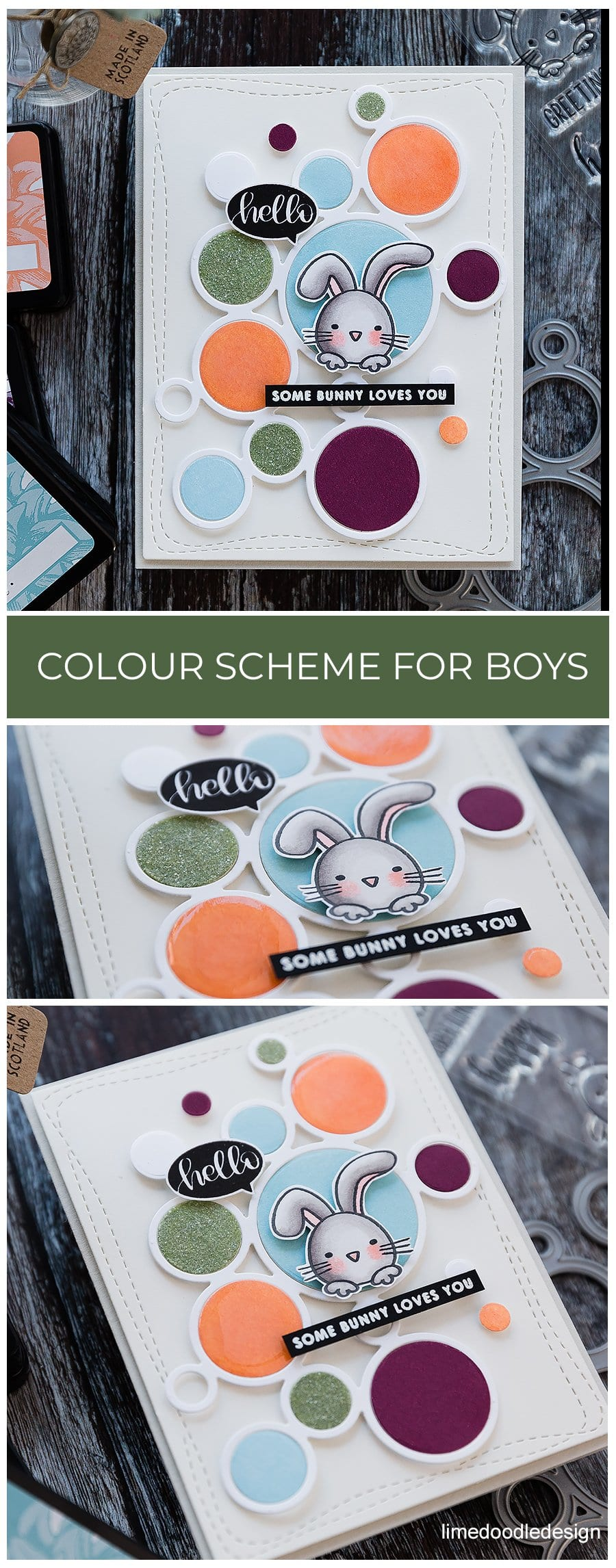 Colour scheme for boys cards. Handmade rabbit birthday card by Debby Hughes using supplies from Simon Says Stamp. Find out more here: https://limedoodledesign.com/2019/02/colour-scheme-for-boys/