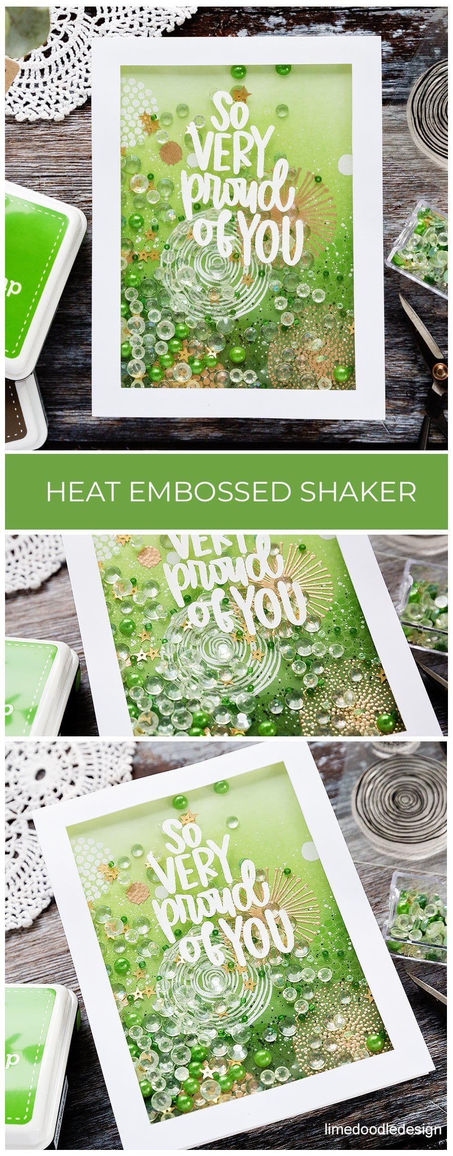 Video - layered heat embossed pattern over ink blended background, shaker card by Debby Hughes using supplies from the March Card Kit from Simon Says Stamp. Find out more here: https://limedoodledesign.com/2019/02/video-layered-heat-embossed-shaker/