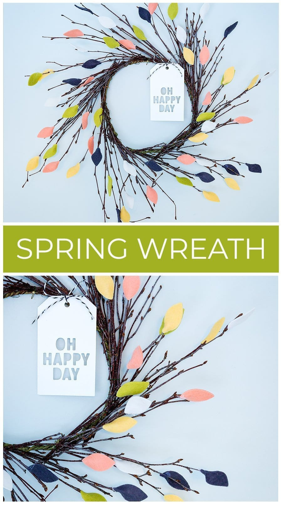 Video tutorial - homemade, DIY spring felt leaf wreath by Debby Hughes using supplies from Simon Says Stamp. Find out more here: https://limedoodledesign.com/2019/02/video-diy-spring-wreath-home-decor/